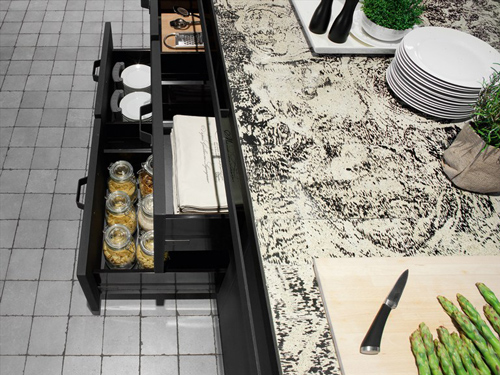 strong rack of timeless classic style of kitchen design with black metal