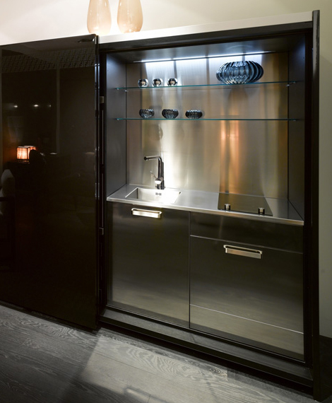 studio kitchen idea for small spaces stylish storage space with sliding doors by Fendi Casa