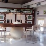 stunning kitchen design has a large round ball on the table