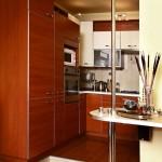 teak remodeling cabinet in small luxury kitchen