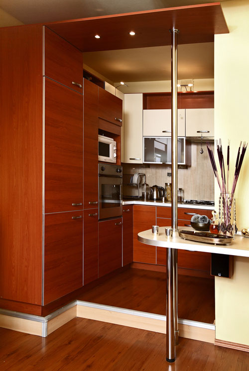 teak remodeling cabinet in small luxury kitchen