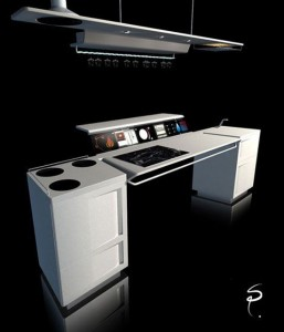 technology kitchen concept with touch digital screen for future kitchen
