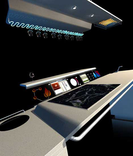 technology kitchen concept with touch digital screen for future kitchens