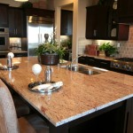 the functional sleek granite on kitchen island