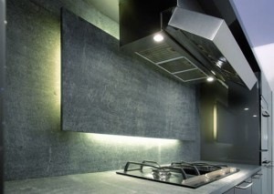 thicker countertop and unique range hood Italian Kitchen Design