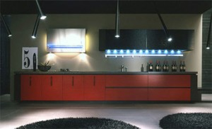 top Italian style Kitchen with geometric look black handle and horizontal black line