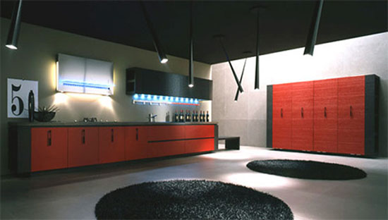 top Italian style Kitchen with geometric look black handles and horizontal black line