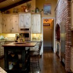 traditional french kitchen island with open storage for displaying baskets and bins