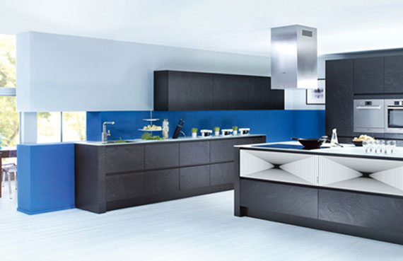 Trendy kitchen design with fresh blue colorful theme