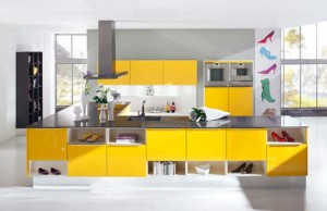 Trendy kitchen design with fresh bright yellow colorful theme