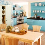 Trendy kitchen design with fresh turqoise colorful theme