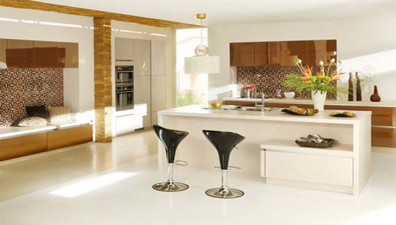 Trendy kitchen design with fresh white colorful theme
