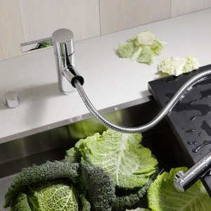 unique sleek and shiny silver color kitchen faucet from Dornbracht Eno