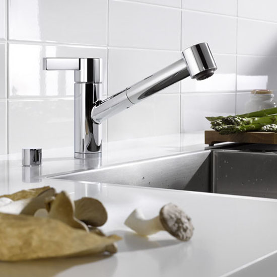 unique sleek and shiny silver colors kitchen faucet from Dornbracht Eno