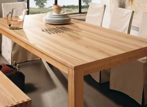 Unusual dining table wood and stainless steel material