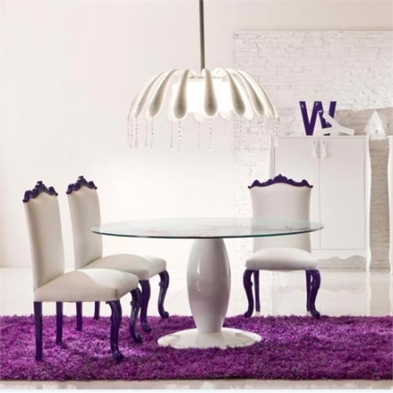 Violet dining room design with romantic atmosphere
