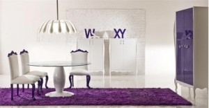 Violet dining room design with romantic feel