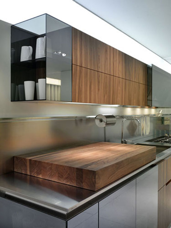 walnut kitchen lacquer reflective glass system with white and wooden worktop