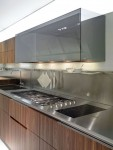 walnut kitchen lacquer reflective glass system with white wooden worktop