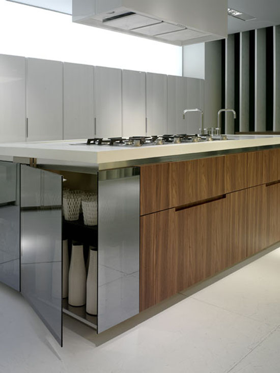 walnut kitchen lacquer reflective glass system with white wooden worktops