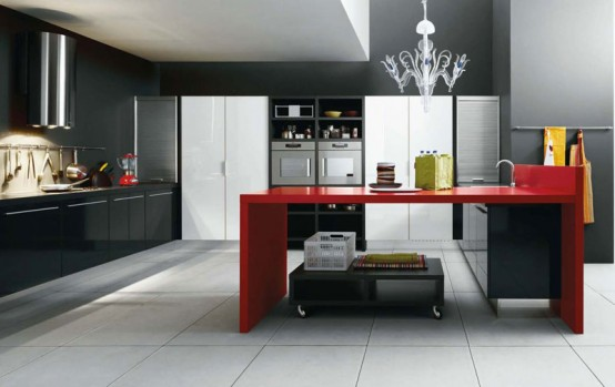 white Black Red kitchen modern look bright fresh very stylish