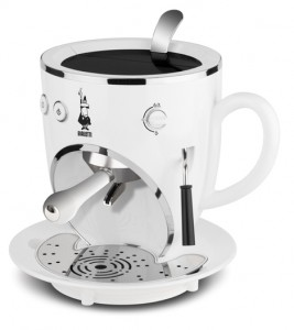white Cool Espresso like a robot face Machines design for future kitchen by Bialetti