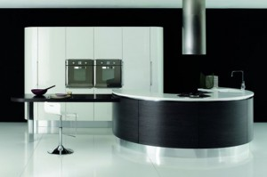 white dark brown and black Rounded kitchen island design By Aran Cucine
