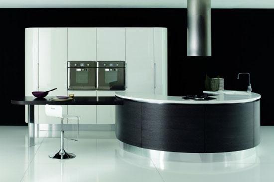 white dark brown and black Rounded kitchen island design By Aran Cucine