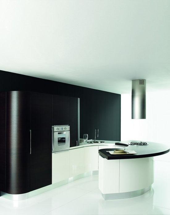 white dark brown and black Rounded kitchen island designs By Aran Cucine
