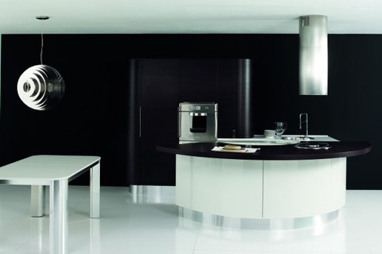 white dark brown and black Rounded kitchens island design By Aran Cucine