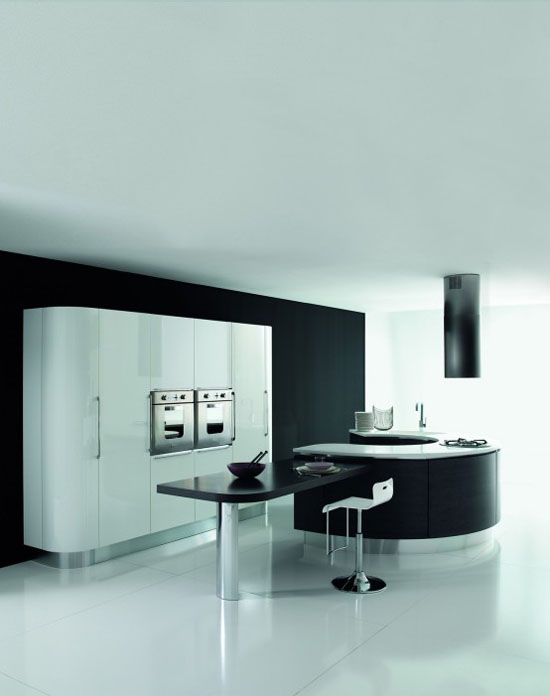 white dark brown and black Rounded kitchens island designs By Aran Cucine