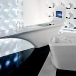 white future kitchen with blue light