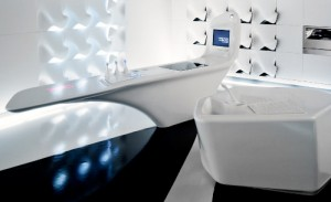 white future kitchen with blue light