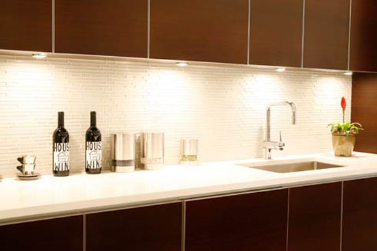 white glass tiles backsplash contrast dark cabinetry provides the clean lines
