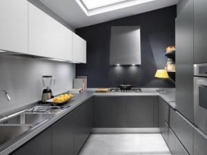 white grey and black modern Kitchen design picture by Ernestomeda