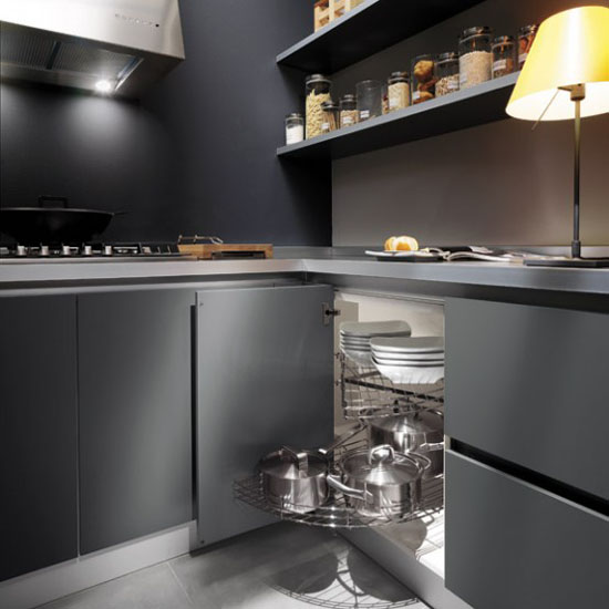 white grey and black modern Kitchen design pictures by Ernestomeda