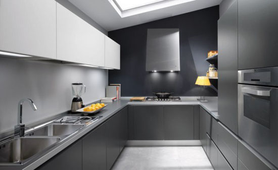 white grey and black modern Kitchens design picture by Ernestomeda