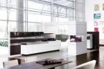 white kitchen cabinets and wooden walls has modern minimalist kitchen style