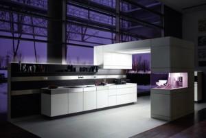 white kitchens cabinet and wooden walls has modern minimalist kitchen style