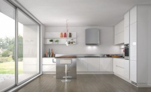 white on white kitchen with full height handles on the cupboards by Ernestomeda