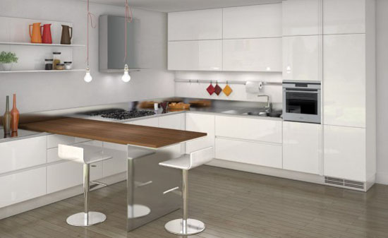 white on white kitchens with full height handles on the cupboard by Ernestomeda