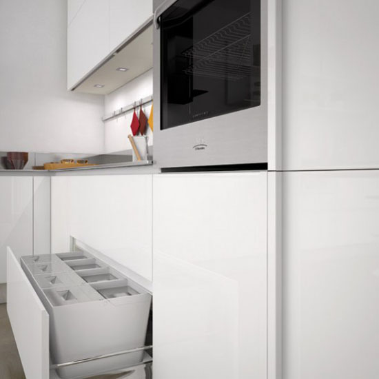 white on white kitchens with full height handles on the cupboards by Ernestomeda