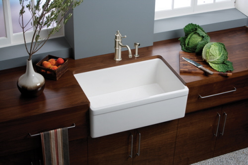 white sink wood