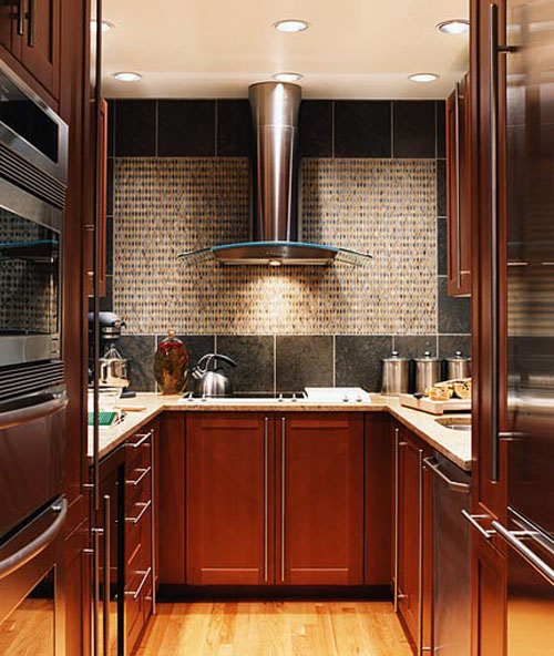 Add a nice vent hood in your kitchen design for small kitchen design renovation