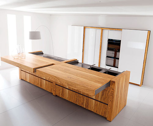 Awesome Kitchen island of Toncelli in a rich olive wood construction with push button