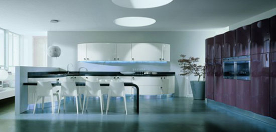 Contemporary Curves Kitchen with an integrated LED by Domina