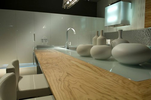 Contemporary Kitchens with stainless steel backdrop by Aster Cucine new Ulivo give green atmosphere