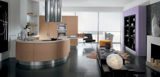 Contemporary Samal Kitchens designs curving counters rounded cupboard edges by Gatto Cucine