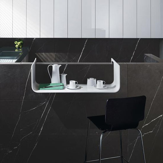 Contemporary Stone Kitchens with White gloss lacquer on Small Spaces