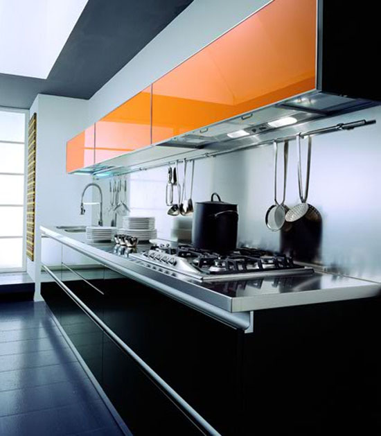 Contemporary modern and bold kitchen combination black yellow or red and grey